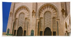 Bath Towel featuring the photograph Hassan II Mosque Grand Mosque Sour Jdid Casablanca Morocco by Ralph A  Ledergerber-Photography