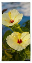 Hand Towel featuring the photograph Bright Yellow Hibiscus by Roselynne Broussard