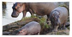 Hippopotamus Family Hand Towel