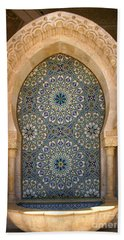 Bath Towel featuring the photograph Holy Water Fountain Hassan II Mosque Sour Jdid Casablanca Morocco  by Ralph A  Ledergerber-Photography