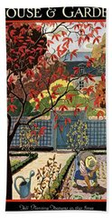 House And Garden Fall Planting Number Cover Bath Towel
