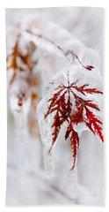 Icy Winter Leaf Bath Towel