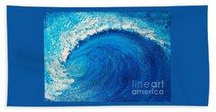 Bath Towel featuring the painting Inside The Wave by Teresa Wegrzyn