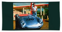 James Dean Filling His Spyder With Gas Bath Towel