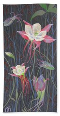 Bath Towel featuring the painting Japanese Flowers by Marina Gnetetsky
