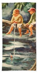 Jes Fishin Hand Towel by Marilyn Jacobson