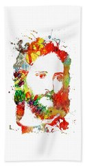 Jesus Christ - Watercolor Bath Towel by Doc Braham