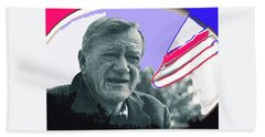 Bath Towel featuring the photograph John Wayne Out Of Costume With Flag by David Lee Guss