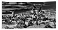 Bath Towel featuring the photograph Joshua Tree Black And White by Benjamin Yeager
