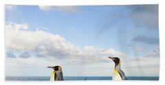 King Penguins Gold Harbour  Hand Towel by Yva Momatiuk John Eastcott