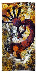 Kokopelli The Flute Player Hand Towel by Barbara Snyder