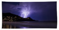 Lightning Over The Ocean Hand Towel