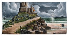 Hand Towel featuring the painting Lindisfarne by Ken Wood