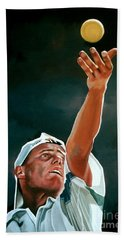Lleyton Hewitt Hand Towel by Paul Meijering