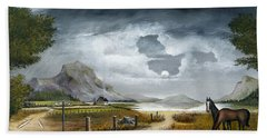 Hand Towel featuring the painting Loch Lomand by Ken Wood