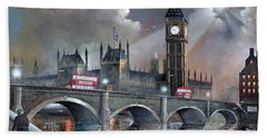 Hand Towel featuring the painting London Pride by Ken Wood