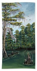 Hand Towel featuring the painting Louisiana Cypress by Suzanne Theis