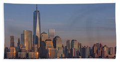 Lower Manhattan Skyline Hand Towel by Susan Candelario
