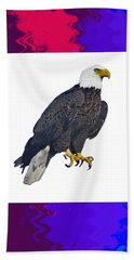 Majestic Eagle King Of The Bird Of Prey  Decorated And Border And Nest Provided By The Artist With M Bath Towel