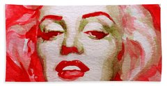 Bath Towel featuring the painting Marilyn by Laur Iduc