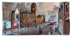 Hand Towel featuring the painting Market Street - Stourbridge by Ken Wood