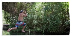Mature Man Swings From Tree On Rope Hand Towel