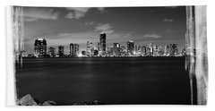 Hand Towel featuring the photograph Miami Skyline At Night by Carsten Reisinger