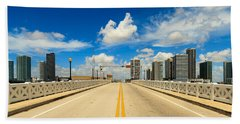 Miami Venetian Causeway Drawbridge Skyline Bath Towel