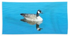Hand Towel featuring the photograph Mirror Goose by Kerri Mortenson