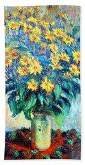 Hand Towel featuring the photograph Monet's Jerusalem  Artichoke Flowers by Cora Wandel