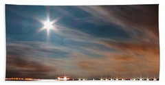Moon Rise Over Anna Maria Island Historic City Pier Bath Towel