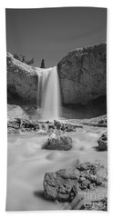 Mossy Cave Waterfall Bw Bath Towel
