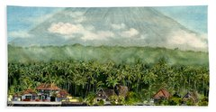 Bath Towel featuring the painting Mt. Agung Bali Indonesia by Melly Terpening