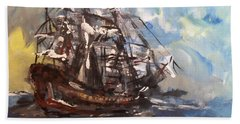 My Ship Hand Towel by Laurie L