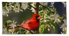 Red Cardinal In Flowers Bath Towel