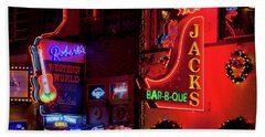 Neon Signs On Lower Broadway Area Hand Towel