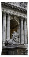 Ny Library Lion Hand Towel by Jerry Fornarotto