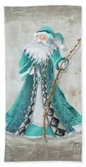Old World Style Turquoise Aqua Teal Santa Claus Christmas Art By Megan Duncanson Bath Towel