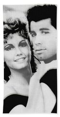 Olivia Newton John And John Travolta In Grease Collage Hand Towel