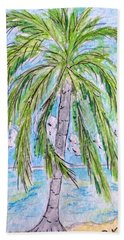 Hand Towel featuring the painting On The Beach by Kathy Marrs Chandler