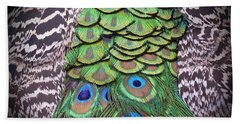 Bath Towel featuring the photograph Peacock Plumage  by Jim Fitzpatrick