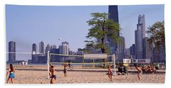 People Playing Beach Volleyball Bath Towel