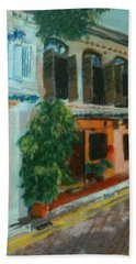 Bath Towel featuring the painting Peranakan House by Belinda Low