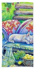 Pig On A Porch Bath Towel by Gail Butler