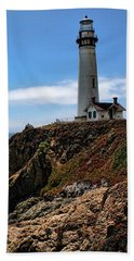Pigeon Point Lighthouse Hand Towel by Judy Vincent