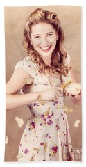 Pin-up Cooking Girl Peeling Potato. Quick Recipe Bath Towel