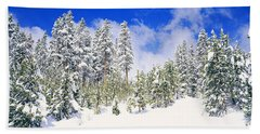 Pine Trees On A Snow Covered Hill Hand Towel
