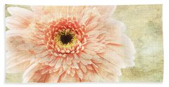 Bath Towel featuring the photograph 1 Pink Painterly Gerber Daisy by Andee Design