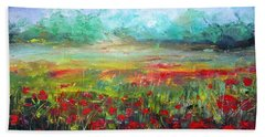 Hand Towel featuring the painting Poppy Fields by Vesna Martinjak