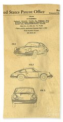 Porsche 911 Carrera 1964 Patent Art  Bath Towel